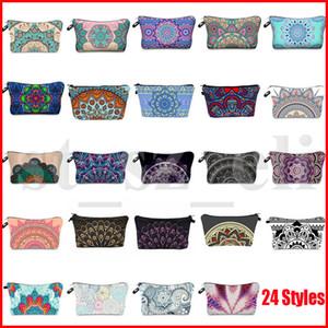 Bohemia Mandala Цветочные 3D печати Косметические сумки Женщины путешествия макияж Дело сумка женщин Zipper косметический мешок цветка печатных мешок 24 стилей