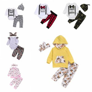 Kids Boys Clothing Sets Gentleman Plaid Camo Rompers Pants Hats Suits Baby Girls Floral Flowers Jumpsuits Pants Headband Outfits B7486