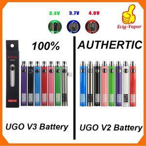 100% Original Ecpow UGO V2 V3 III Vaporizador Bateria de Pré-aqueça Tensão Variável 510 Linha EVOD EGO Micro USB Carregador Vape Bateria