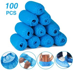 100pcs Non-woven Fabric Disposable Shoe Covers with Elastic Band Breathable Dust-proof Thickened Anti-slip Anti-static Boot Covers