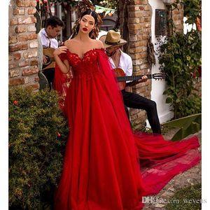 Красный линия платья выпускного вечера с плеча кружева аппликации драпированные тюль красный ковер платье с накидкой знаменитости платья ogstuff халаты де вечер