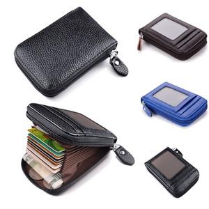 지퍼 포켓 얇은 비즈니스 가죽 지갑을 차단 남성 지갑 진짜 가죽 신용 카드 홀더 RFID