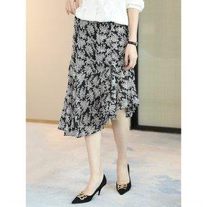 CB01272020 de seda impresa de franela de las mujeres mediados de las mujeres largas del verano elegante línea A A- falda del vestido de falda de línea skirt-