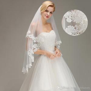 En stock Cheap Blanc d'Ivoire Deux couches dentelle court mariage Veils Tulle Applique mariage de mariée Veils 100% réel image CPA1446