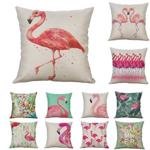 Flamingolar Yastık Kılıfı Pamuk Keten Kare Ev Dekoratif Koltuk Yastık Kapak