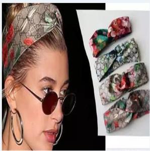 Diseñador Jefe diadema pañuelos para las mujeres Flores Y Hummingbird impresión de seda de lujo del pelo venda de la cruz con elástico 4 colores Turban