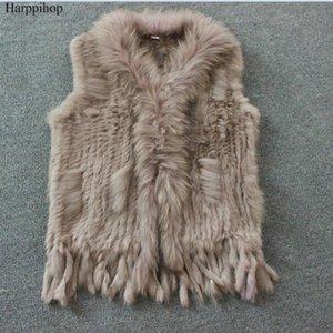 Harppihop envío mujeres libres del chaleco de la piel natural real con cuello de piel de mapache chaleco / chaquetas de punto rex winte