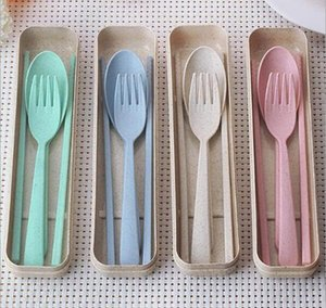 Portable Wheat Straw Tableware Eco-friendly Spoon Fork Chopsticks Set Tablewares 4 Colors Reusable Travel Camping Cutlery Set LXL724A