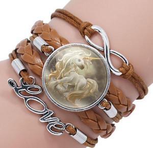 Cinturino in tessuto multistrato unicorno Gemma del tempo Cavallo volante Cartoon Bracciale Gioielli per bambini Amicizia Fascino Infinito Bracciale Regalo gioielli