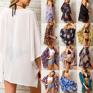 Été Femmes en mousseline de soie Floral Kimono plage Cardigan Sheer Cover Up Maillots de bain longues Blouse Chemises Hauts pour femmes d'été à manches courtes T