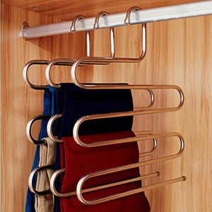 Нержавеющая сталь брюки вешалка многофункциональный брюки шкаф ремень держатель стойки S-типа 5 слоев экономия пространства