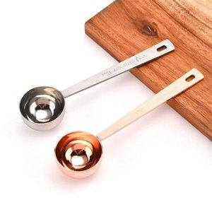 15мл Малый Кофе Scoop Мера Ложка Шкала из нержавеющей стали 304 Материал Silver Rose Gold Измерительный инструмент