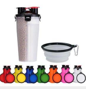 2 В 1 Пластиковый складной Кубок еды Кишки Pet Открытый чайник Многофункциональный портативный Pet чашки воды с чашами