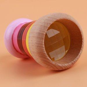 New Chegada do arco-íris de madeira do caleidoscópio mágico Mini Kaleidoscope Bee Eye Effect Polygon Prism crianças brinquedo