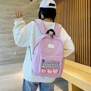 Frauen-Schule-Rucksack für Teenager 2020 Sommer neue Art und Weise transparenter Studenten Bookbag nette Ente Kleiner Rucksack