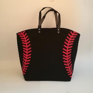 Borse pizzo nero Blanks baseball Borsa Sport Casual Bag Softball Calcio Calcio Pallacanestro SpotIE borsa della tela di cotone Materiale DOM281