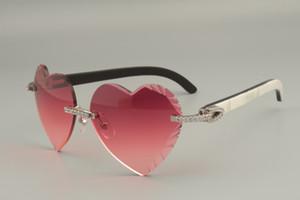lunettes de soleil sculptées en forme de coeur de haute qualité, corne mixte naturelle diamant / lunettes de corne de fleurs noires 8.300.686-A Taille: 58-18-140mm