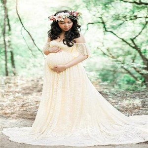 Pregnant Dress Women Floral Lace Short Sleeve Photography Fly Sleeves Off Shoulder Long Pregnant Woman Dress 18jun28