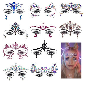 festival strass autocollant de visage de faux tatouage autocollants Glitter Body Tatouages ​​Gems Flash pour Party Festival de musique de maquillage