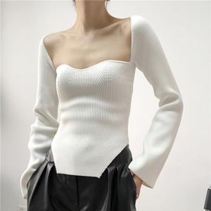 Черный белый сплошной цвет свитер женская вязать тянуть с длинным рукавом тонкий сексуальный дуговой подол боковые Сплит топы