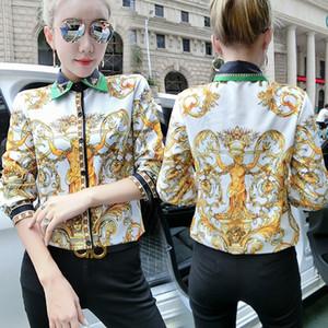 2020 مدرج جديد قمصان فاخرة خمر الزهور المرأة كم طويل الرقبة طية صدر السترة مطبوعة السيدات بلوزة زر زائد الحجم مكتب القمم مصمم قميص