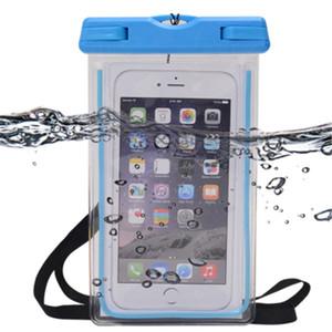 La mejor calidad superventas de la alta Logotipo de encargo del IPX8 impermeable a prueba fluorescente del teléfono móvil caso de la bolsa de agua bolsa para el teléfono celular