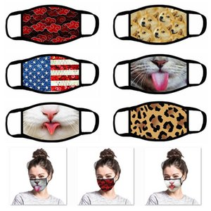 3D Cartoon Leopard Animal Dog Mouth Mask Nation Flag Hanging Ear Personality Funny Face Mask DHL UPS Shipping