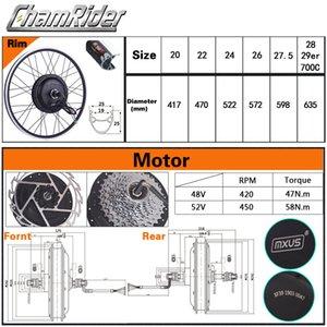 1-2 batería ebike Bici eléctrica Kit de conversión XF39 XF40 Motor Marca MXUS Hailong rueda libre LCD 500W 48V 13Ah 52V 17AH LED