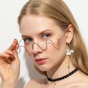 New Vintage 2020 Hand inlaid drill Metal rimless decorative spectacle frame ins half frame Street Photo decorative frame S2056