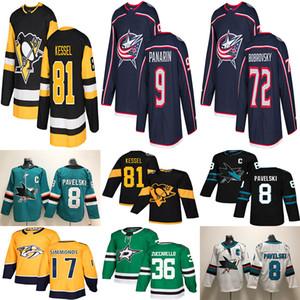 2019 Hockey Jerseys Pittsburgh Penguins 81 PHIL KESSEL SAN JOSE SHARKS # 8 JOE PAVELSKI 9 Artemi Panarin 72 Sergei Bobrovsky jerseys
