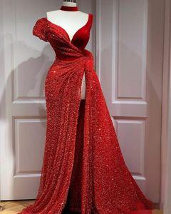 2020 Bourgogne Robes de bal Jewel Neck perles taille côté Slit Backless Custom Made Taille Plus Tulle Robes de soirée Party Wear Occasion formelle