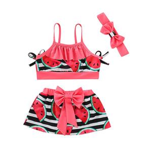 Les enfants de maillots de bain pour les filles maillot de bain séparés enfants enfants filles Bikini Beach jarretelle Tops + jupe + Bandeaux Maillot de bain Set D300220
