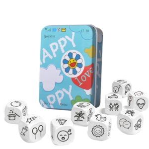 Kids Telling Story Dice Metal Box English Rules Family Parents Party Funny Imagine Education Toys For Children Learning Toys
