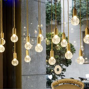 MINI Kolye Işıkları Bakır Cam nordic basit Modern Kolye Tavan Lambaları 1 Işık Asılı Fikstür Hanglamp