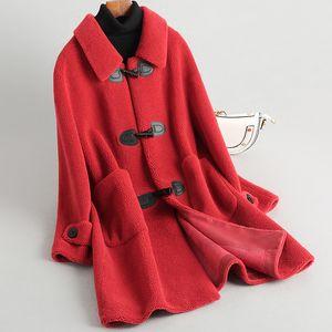 Sonbahar Kış Yün Coat Kadınlar Giyim 2020 Gerçek Kürk Kore Vintage Kırmızı Yün Ceket Süet Kaplama Abrigo Mujer CF1903 ZT2849