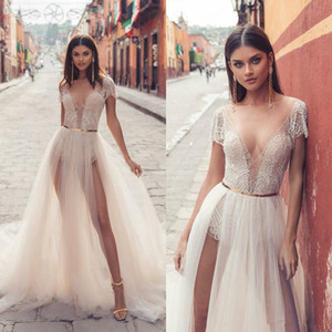 2019 Sexy Julie Vino Brautkleider Sexy V-Ausschnitt Brautkleider Zwei Seiten Split Tüll Illusion Prinzessin Boho Strand Hochzeitskleid Billig