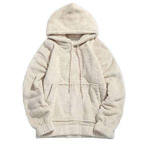 gWinter Warm Men Teddy Bear Fleece Plain Hooded Sweatshirt Long Sleeve Casual Oversized Hoodies Pullovers Tops S-2XL