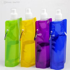 Os mais recentes 480ml garrafa de água dobrável garrafa de esportes portátil dobráveis água Copos de água saco 500pcs / lot T2I078