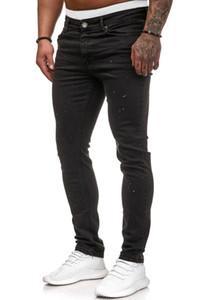 EuropeanAmerican hombres del estilo Medio cintura estiramiento flaco dril de algodón largo lápiz pantalones más el tamaño cómodo de la cremallera de los pantalones vaqueros negros pantalones S-3XL