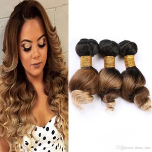Lose Wellen-Menschenhaar Bundles # 1B 4 27 Ombre peruanische Jungfrau-Haar Weaves Schwarz Braun Honey Blonde Ombre Haarverlängerungen