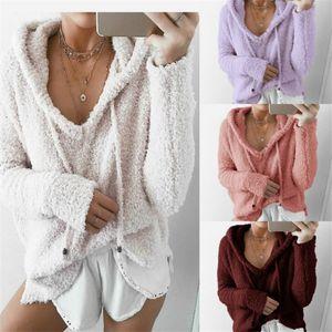 Femmes mohair Pull en molleton chaud Sweat-shirts Pull oversize loose Chemises Automne Hiver capuche manteau à capuchon Veste Outwear Tops