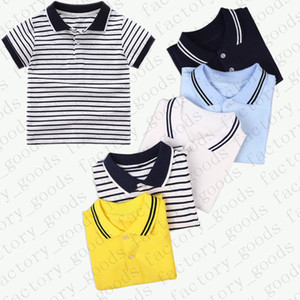 Kids Tees Striped Polos Shirt Kids T-shirt Summer Clothes Short Sleeve Sports Top Casual Tees Child Fashion Boys Girls Tshirts SALE CZ311