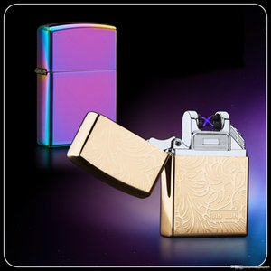 Double Arc Electronic Pulsed ice Cigarette Lighter Plasma Windproof Electric Lighters USB Rechargeable cigarette Lighter with Box dhl free