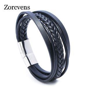 Modyle 2020 Fashion Stainless Steel Chain Genuine Leather Bracelet Men Vintage Male Braid Jewelry for women