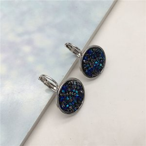 Ms betti new arrival round drusy earring with leverback for women Crystals from SWAROVSKI cheap price wholesale