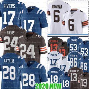 Indianapolis 28 Jonathan Taylor Colts Jersey 17 Philip Rivers 53 Darius Leonard 18 Peyton Manning Cleveland 86 Michael Pittman Jr. Browns