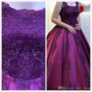 Aso Ebi Luxus Arabisch Lila Spitze wulstige Ballkleid Quinceanera Kleider Spaghetti wulstige Abend-Kleid-Kleider tragen formale Partei-Kleider