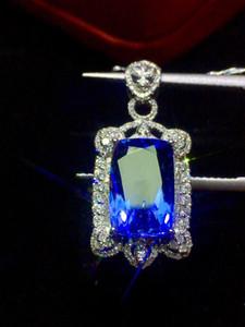 Fine Jewelry Tansania Herkunft Echt 18K Weißgold 100% natürliche blaue Tanzanite Edelstein 3.89ct Diamanten feine Chic-Anhänger-Halskette