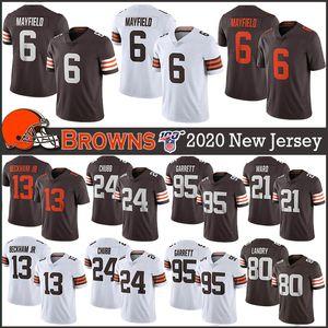 6 Baker Mayfield ClevelandBrownsYeni Futbol Formalar 24 Nick Chubb 95 Myles Garrett 80 Jarvis Landry 21 Denzel Ward 13 Beckham Jr