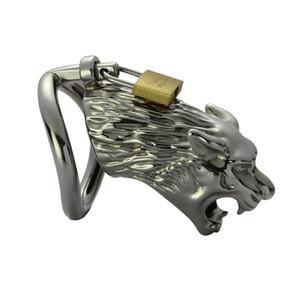 Forma de lobo Hombre Jaula de gallo de acero inoxidable con arco anillo del pene Bondage Lock Dispositivo de castidad Adulto BDSM Sex Toy 919A